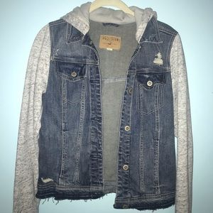 Hollister-hooded denim jacket